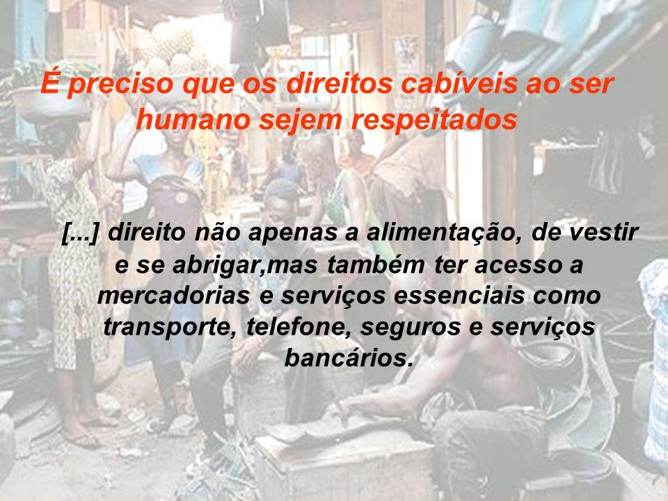 [...] direito não apenas a alimentação, de vestir e se abrigar,mas também ter acesso a mercadorias e serviços essenciais como transporte, telefone, se