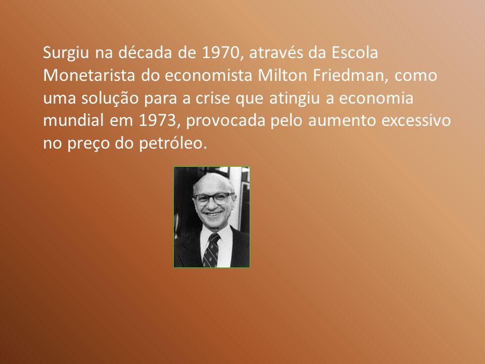 Surgiu na década de 1970, através da Escola Monetarista do economista Milton Friedman, como uma solução para a crise que atingiu a economia mundial em 1973, provocada pelo aumento excessivo no preço do petróleo.