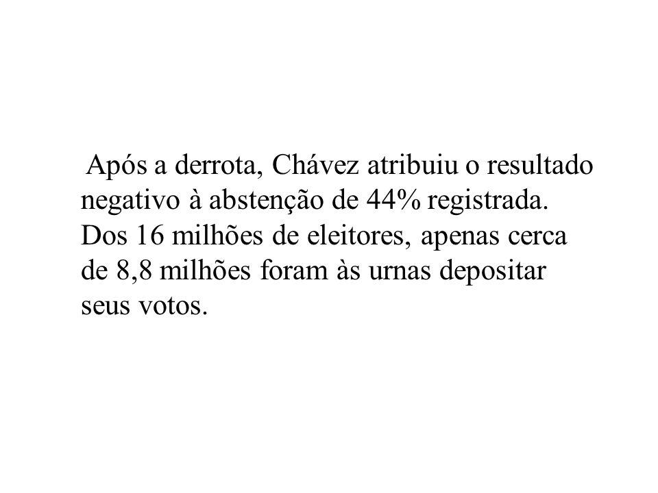 Após a derrota, Chávez atribuiu o resultado negativo à abstenção de 44% registrada.