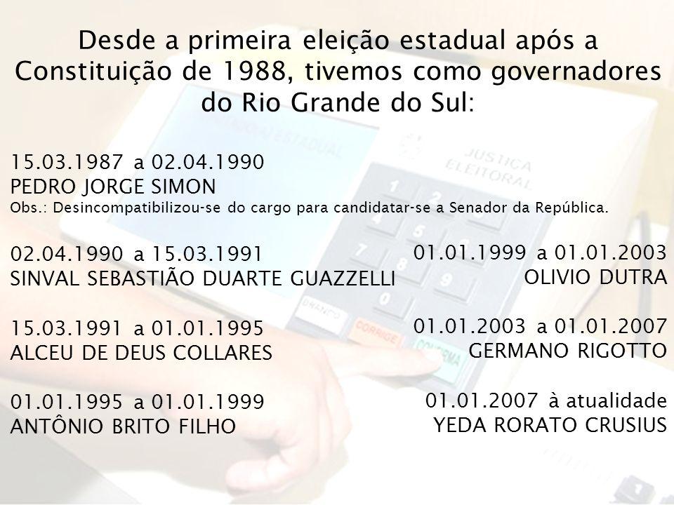 Desde a primeira eleição estadual após a Constituição de 1988, tivemos como governadores do Rio Grande do Sul: 15.03.1987 a 02.04.1990 PEDRO JORGE SIM