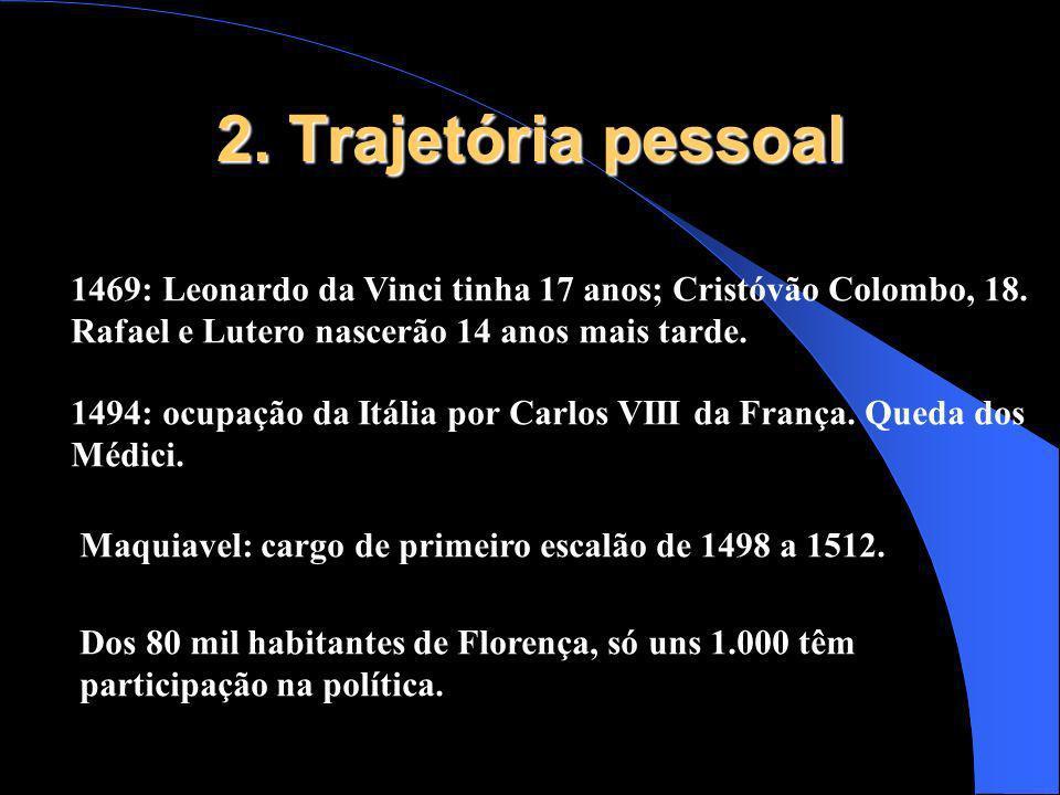 2. Trajetória pessoal 1469: Leonardo da Vinci tinha 17 anos; Cristóvão Colombo, 18. Rafael e Lutero nascerão 14 anos mais tarde. 1494: ocupação da Itá