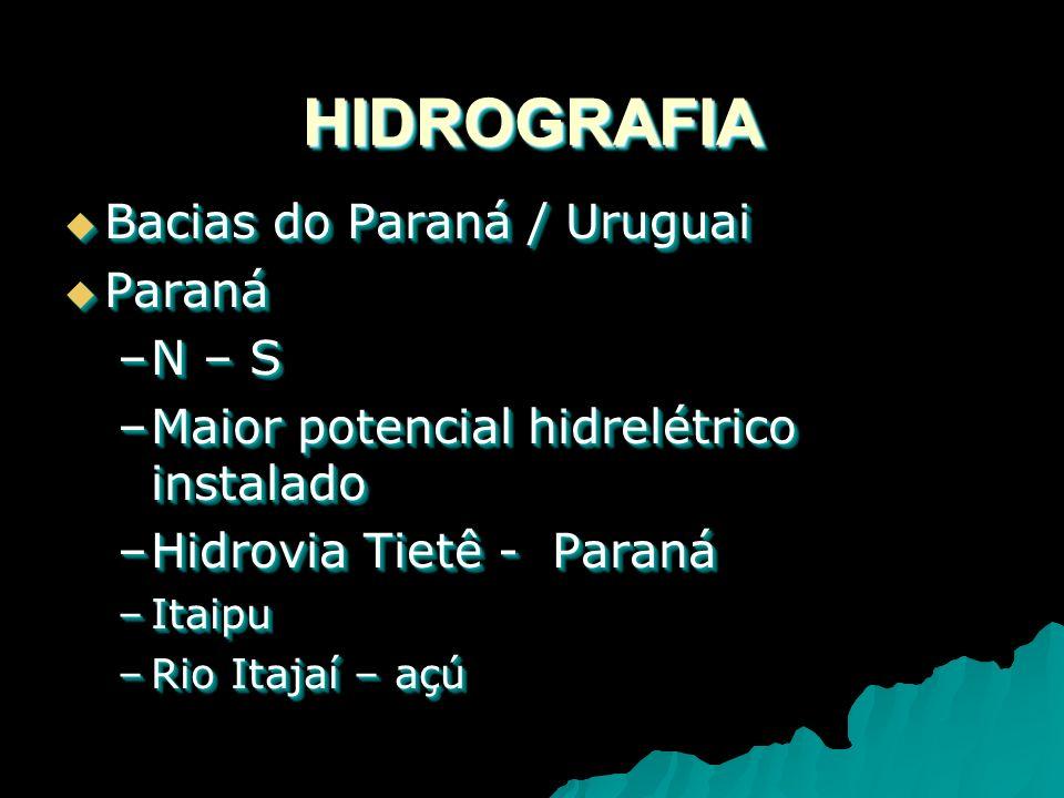 HIDROGRAFIAHIDROGRAFIA Bacias do Paraná / Uruguai Bacias do Paraná / Uruguai Paraná Paraná –N – S –Maior potencial hidrelétrico instalado –Hidrovia Tietê - Paraná –Itaipu –Rio Itajaí – açú Bacias do Paraná / Uruguai Bacias do Paraná / Uruguai Paraná Paraná –N – S –Maior potencial hidrelétrico instalado –Hidrovia Tietê - Paraná –Itaipu –Rio Itajaí – açú