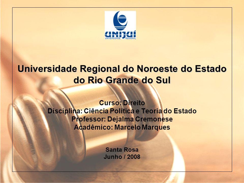 Universidade Regional do Noroeste do Estado do Rio Grande do Sul Universidade Regional do Noroeste do Estado do Rio Grande do Sul Curso: Direito Disci