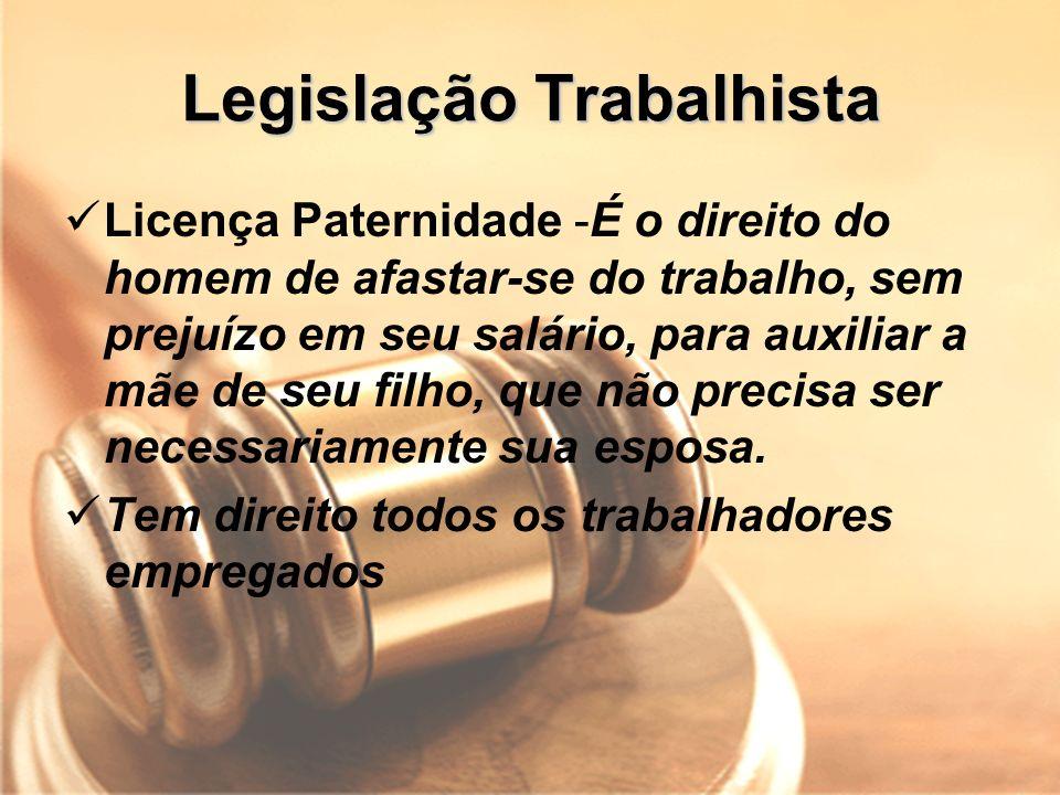 Legislação Trabalhista Licença Paternidade -É o direito do homem de afastar-se do trabalho, sem prejuízo em seu salário, para auxiliar a mãe de seu fi
