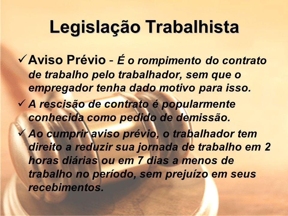 Legislação Trabalhista Aviso Prévio - É o rompimento do contrato de trabalho pelo trabalhador, sem que o empregador tenha dado motivo para isso. A res