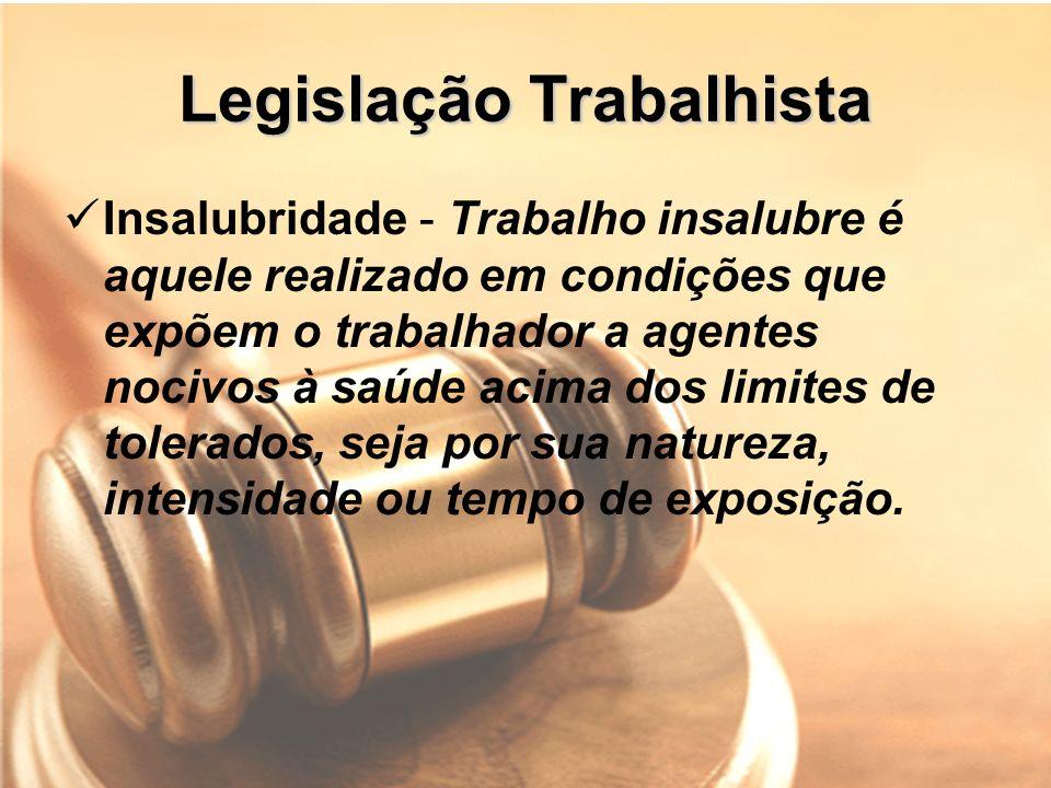 Legislação Trabalhista Insalubridade - Trabalho insalubre é aquele realizado em condições que expõem o trabalhador a agentes nocivos à saúde acima dos