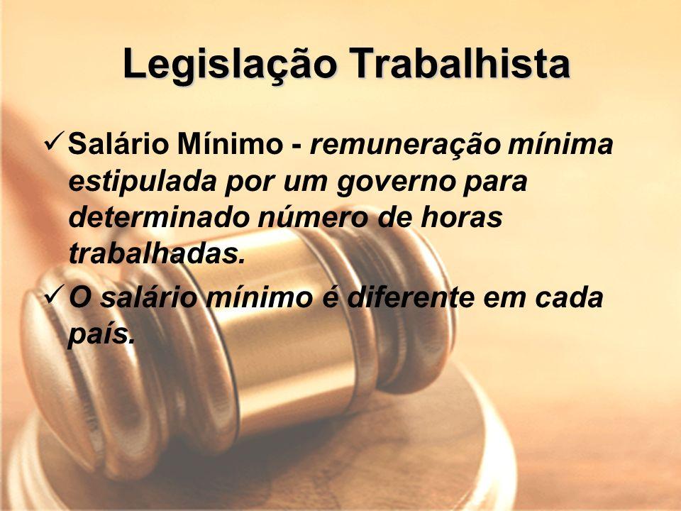 Legislação Trabalhista Salário Mínimo - remuneração mínima estipulada por um governo para determinado número de horas trabalhadas. O salário mínimo é