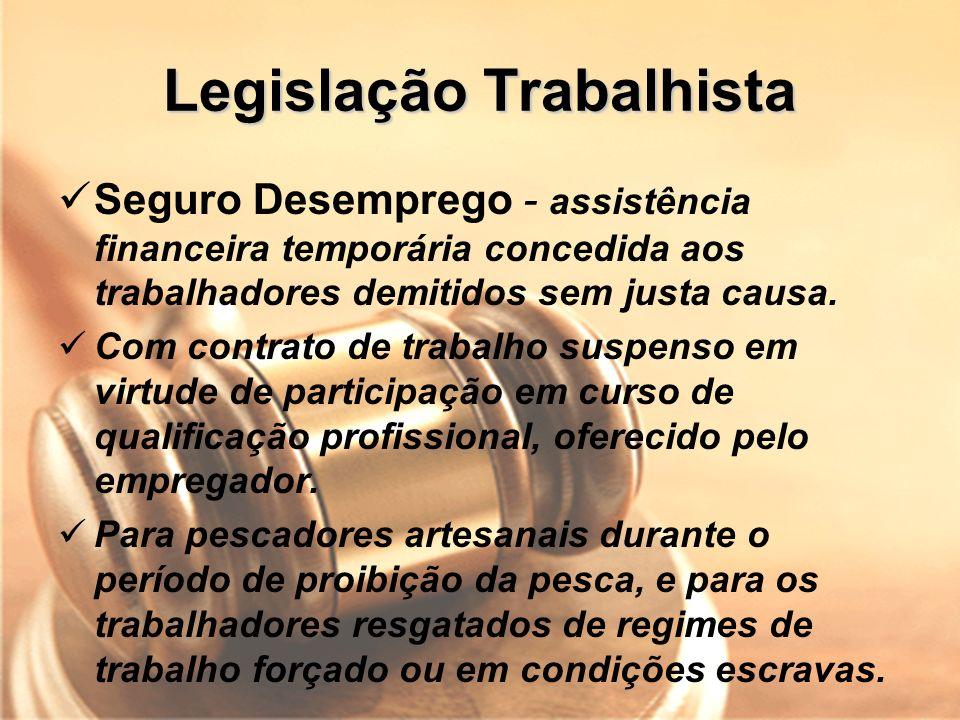 Legislação Trabalhista Seguro Desemprego - assistência financeira temporária concedida aos trabalhadores demitidos sem justa causa. Com contrato de tr