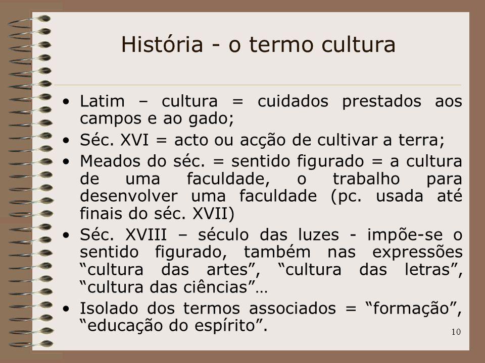 10 Latim – cultura = cuidados prestados aos campos e ao gado; Séc. XVI = acto ou acção de cultivar a terra; Meados do séc. = sentido figurado = a cult