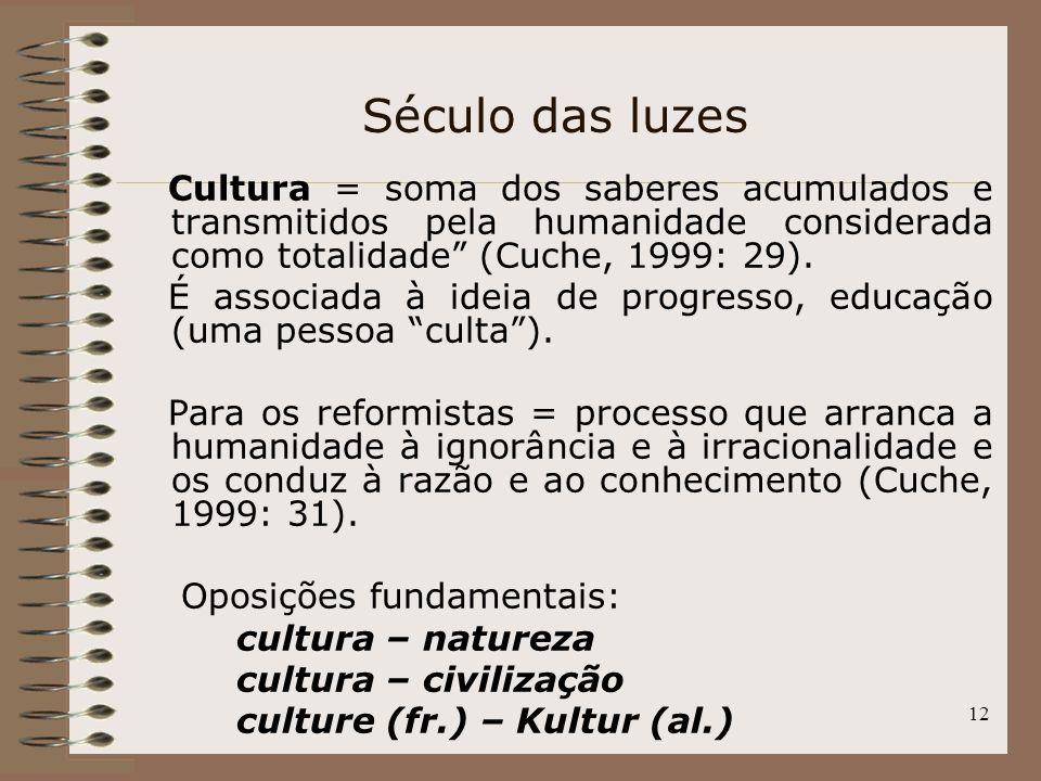 12 Cultura = soma dos saberes acumulados e transmitidos pela humanidade considerada como totalidade (Cuche, 1999: 29). É associada à ideia de progress