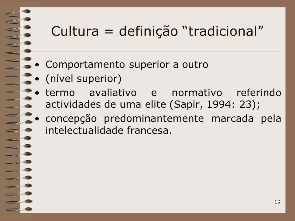 13 Cultura = definição tradicional Comportamento superior a outro (nível superior) termo avaliativo e normativo referindo actividades de uma elite (Sa