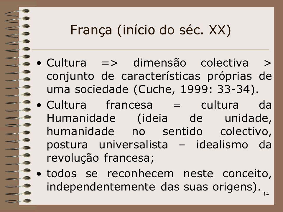 14 França (início do séc. XX) Cultura => dimensão colectiva > conjunto de características próprias de uma sociedade (Cuche, 1999: 33-34). Cultura fran