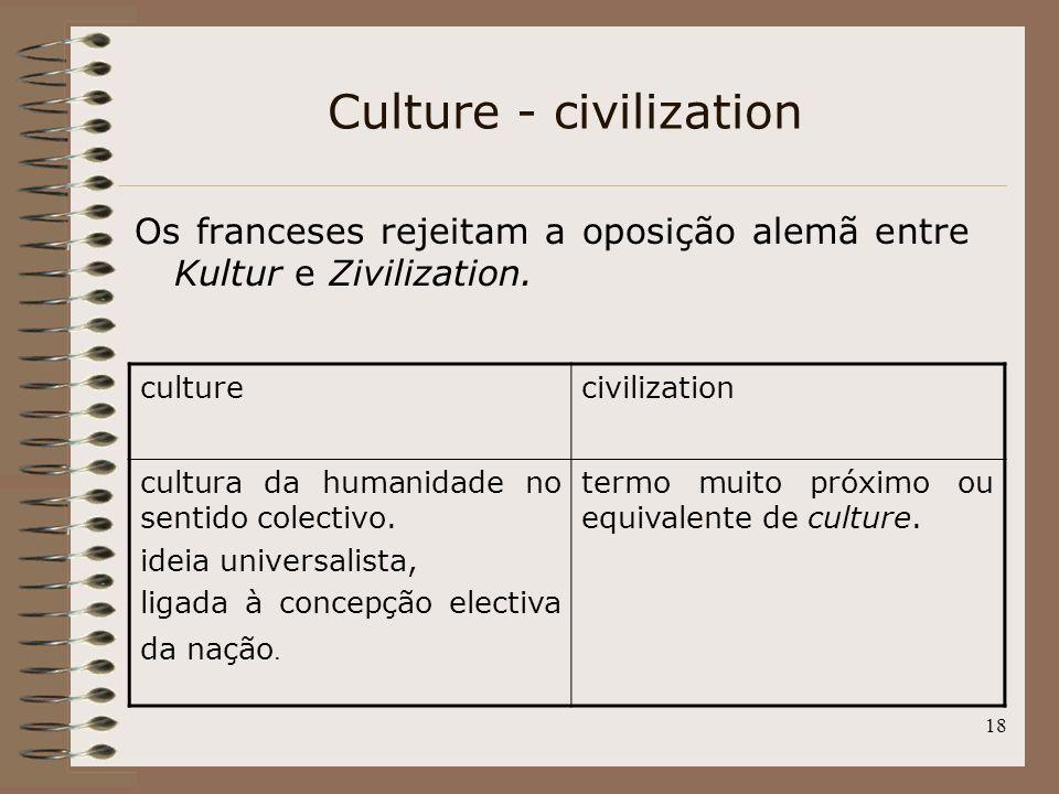 18 Culture - civilization Os franceses rejeitam a oposição alemã entre Kultur e Zivilization. culturecivilization cultura da humanidade no sentido col
