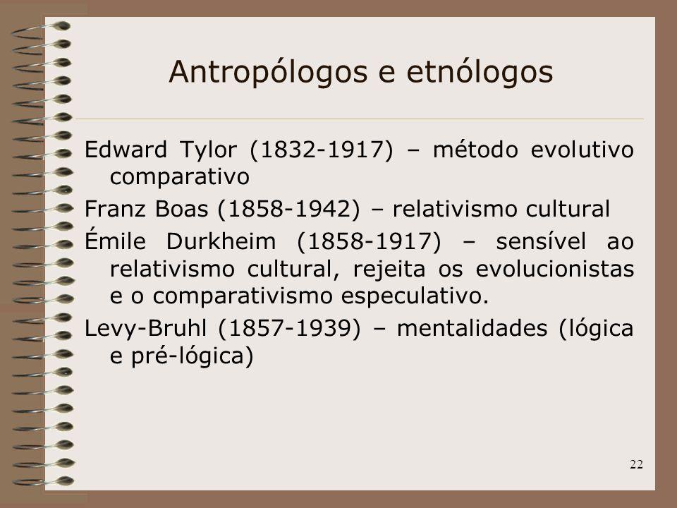 22 Antropólogos e etnólogos Edward Tylor (1832-1917) – método evolutivo comparativo Franz Boas (1858-1942) – relativismo cultural Émile Durkheim (1858