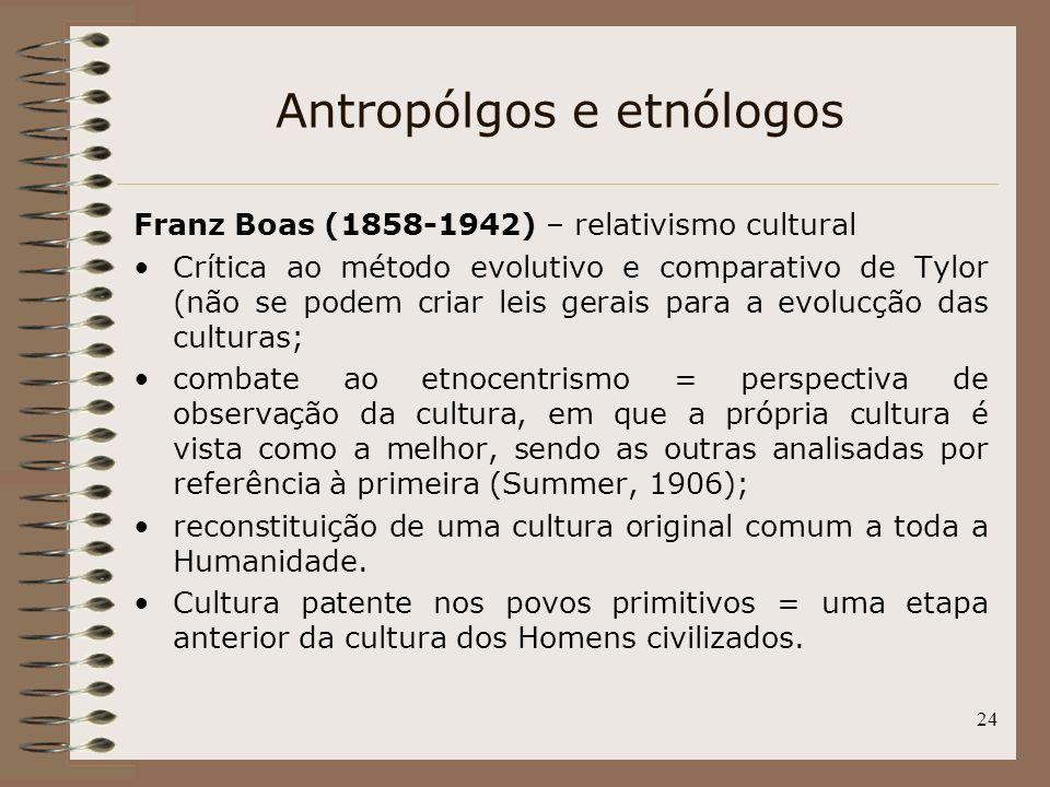 24 Antropólgos e etnólogos Franz Boas (1858-1942) – relativismo cultural Crítica ao método evolutivo e comparativo de Tylor (não se podem criar leis g