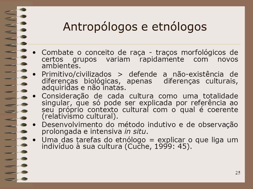 25 Antropólogos e etnólogos Combate o conceito de raça - traços morfológicos de certos grupos variam rapidamente com novos ambientes. Primitivo/civili