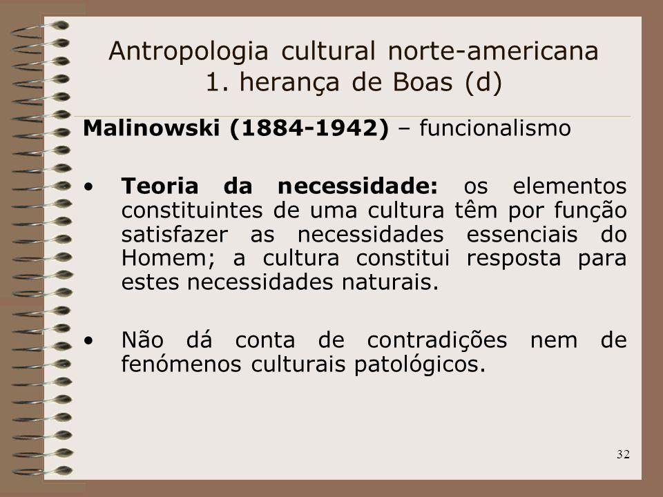 32 Antropologia cultural norte-americana 1. herança de Boas (d) Malinowski (1884-1942) – funcionalismo Teoria da necessidade: os elementos constituint