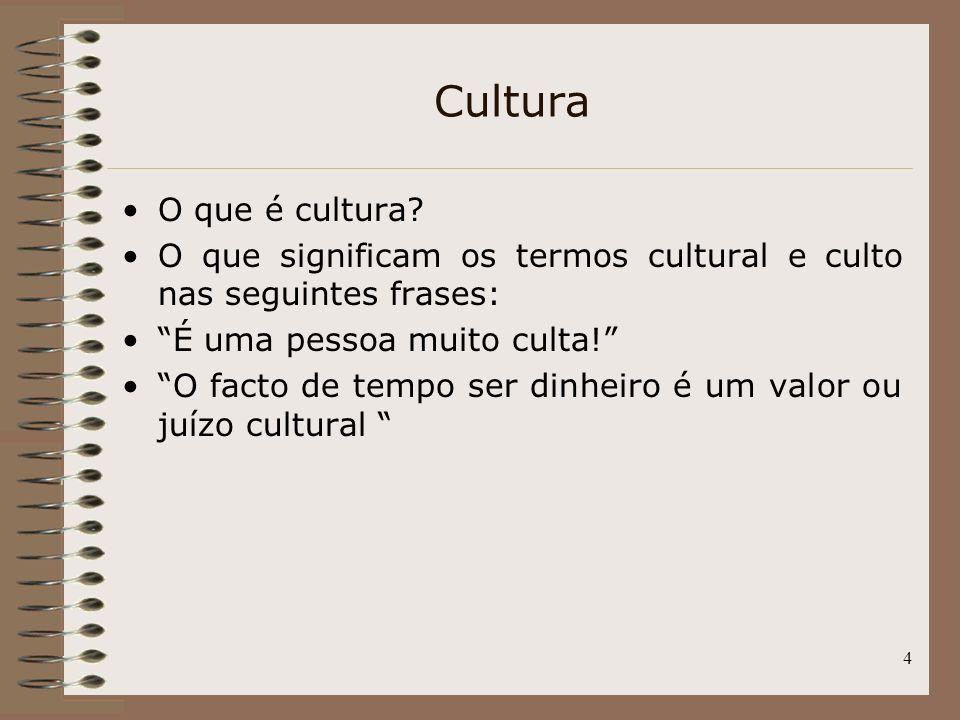 4 Cultura O que é cultura? O que significam os termos cultural e culto nas seguintes frases: É uma pessoa muito culta! O facto de tempo ser dinheiro é