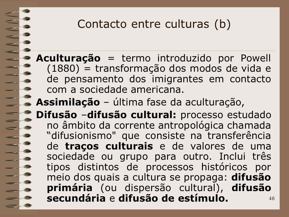46 Aculturação = termo introduzido por Powell (1880) = transformação dos modos de vida e de pensamento dos imigrantes em contacto com a sociedade amer