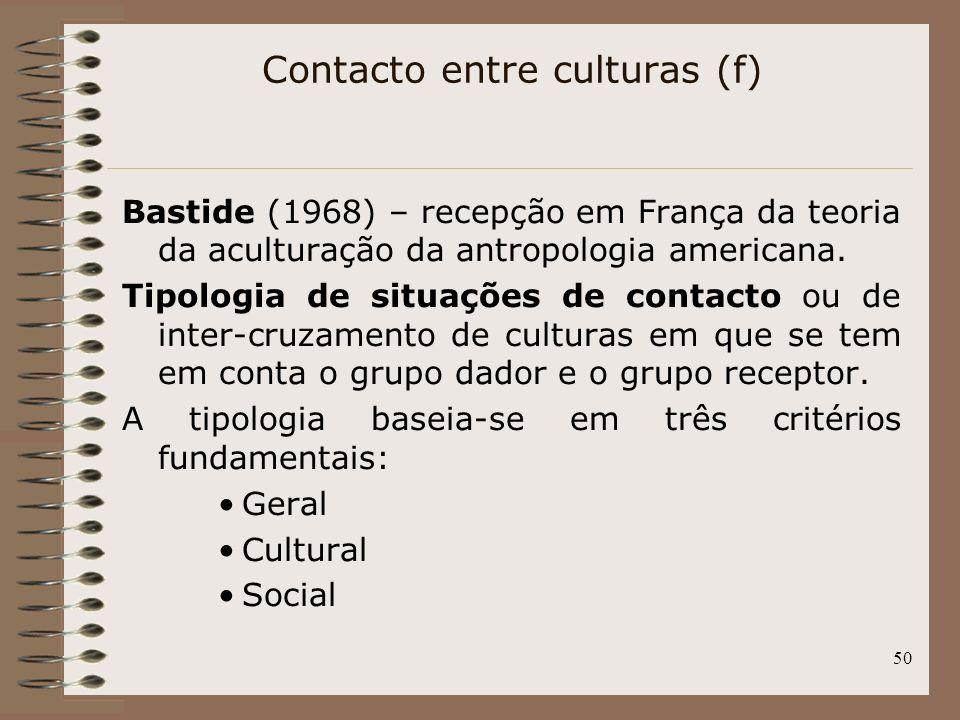 50 Bastide (1968) – recepção em França da teoria da aculturação da antropologia americana. Tipologia de situações de contacto ou de inter-cruzamento d
