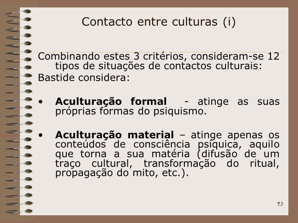 53 Combinando estes 3 critérios, consideram-se 12 tipos de situações de contactos culturais: Bastide considera: Aculturação formal - atinge as suas pr