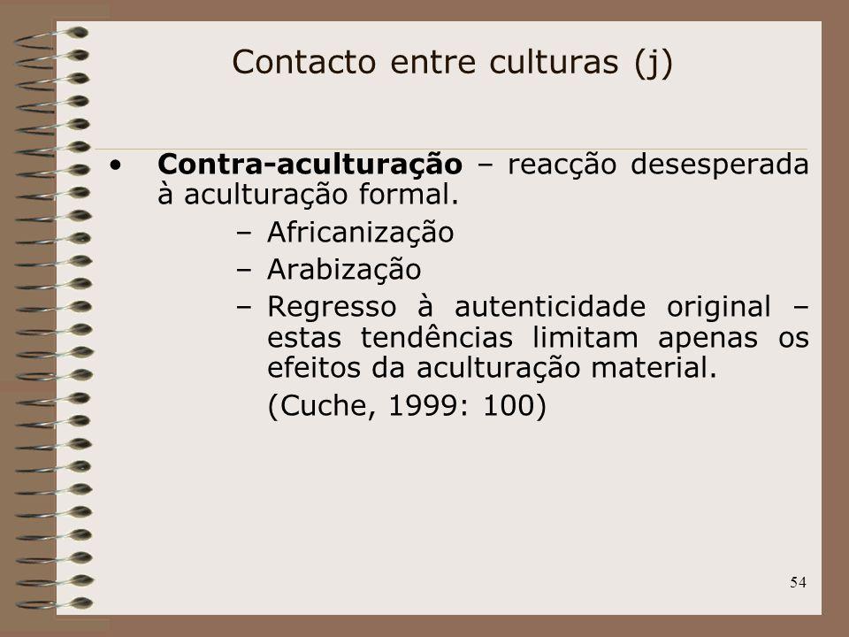 54 Contra-aculturação – reacção desesperada à aculturação formal. –Africanização –Arabização –Regresso à autenticidade original – estas tendências lim