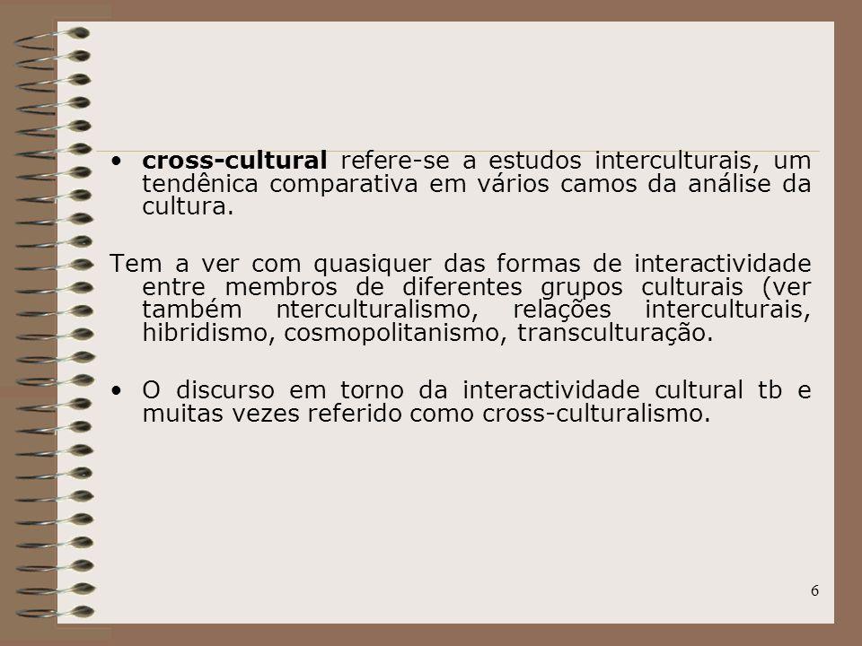 6 cross-cultural refere-se a estudos interculturais, um tendênica comparativa em vários camos da análise da cultura. Tem a ver com quasiquer das forma
