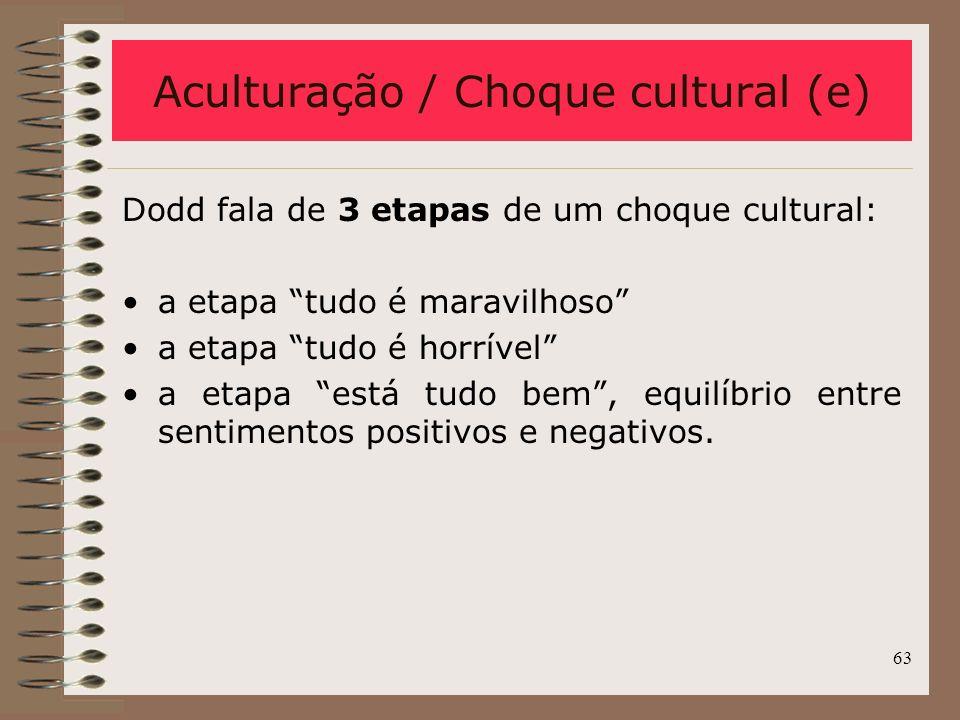 63 Dodd fala de 3 etapas de um choque cultural: a etapa tudo é maravilhoso a etapa tudo é horrível a etapa está tudo bem, equilíbrio entre sentimentos