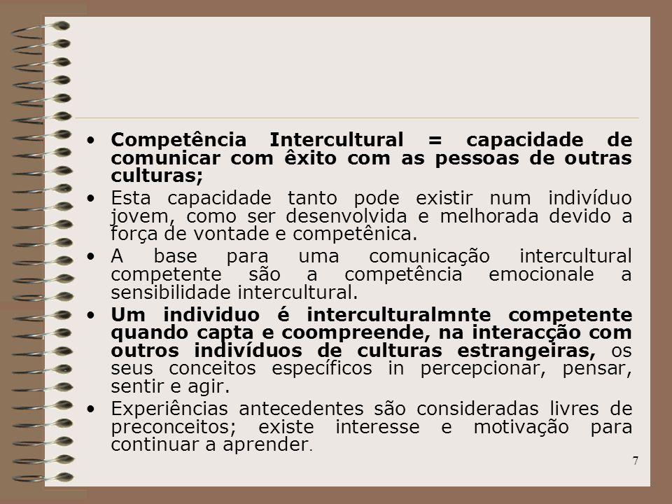 7 Competência Intercultural = capacidade de comunicar com êxito com as pessoas de outras culturas; Esta capacidade tanto pode existir num indivíduo jo