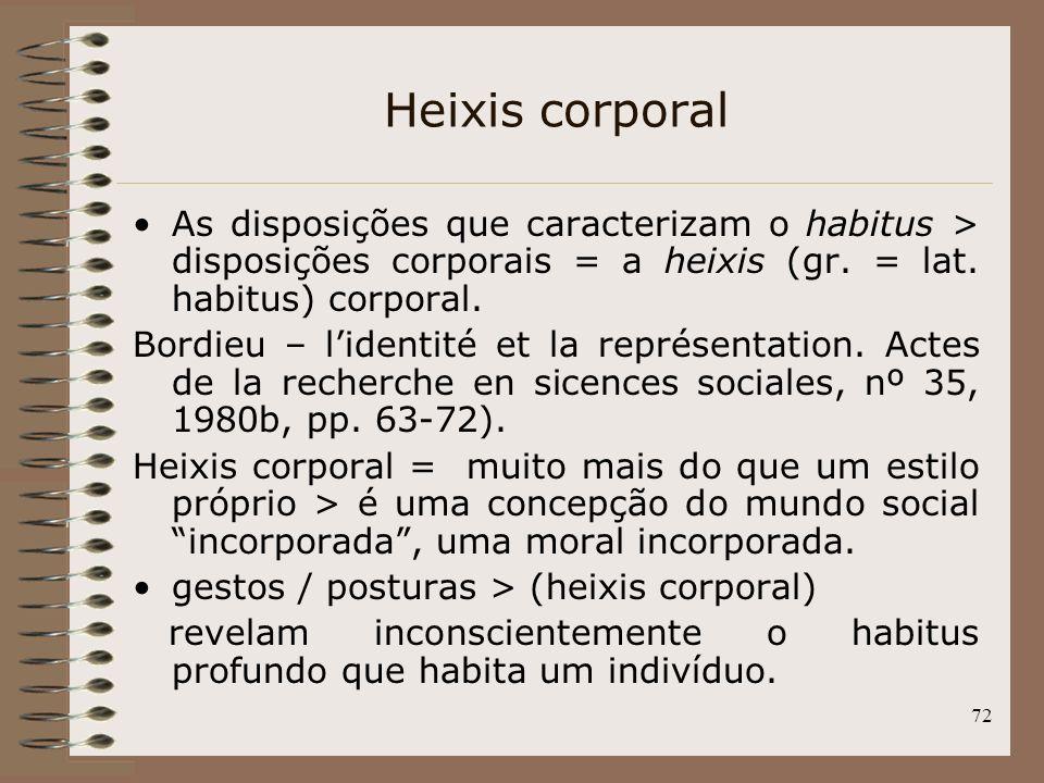 72 Heixis corporal As disposições que caracterizam o habitus > disposições corporais = a heixis (gr. = lat. habitus) corporal. Bordieu – lidentité et