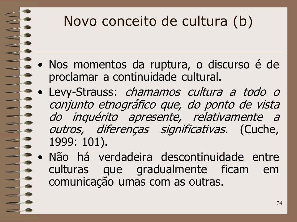 74 Nos momentos da ruptura, o discurso é de proclamar a continuidade cultural. Levy-Strauss: chamamos cultura a todo o conjunto etnográfico que, do po