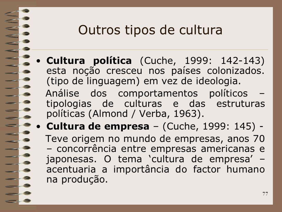 77 Outros tipos de cultura Cultura política (Cuche, 1999: 142-143) esta noção cresceu nos países colonizados. (tipo de linguagem) em vez de ideologia.