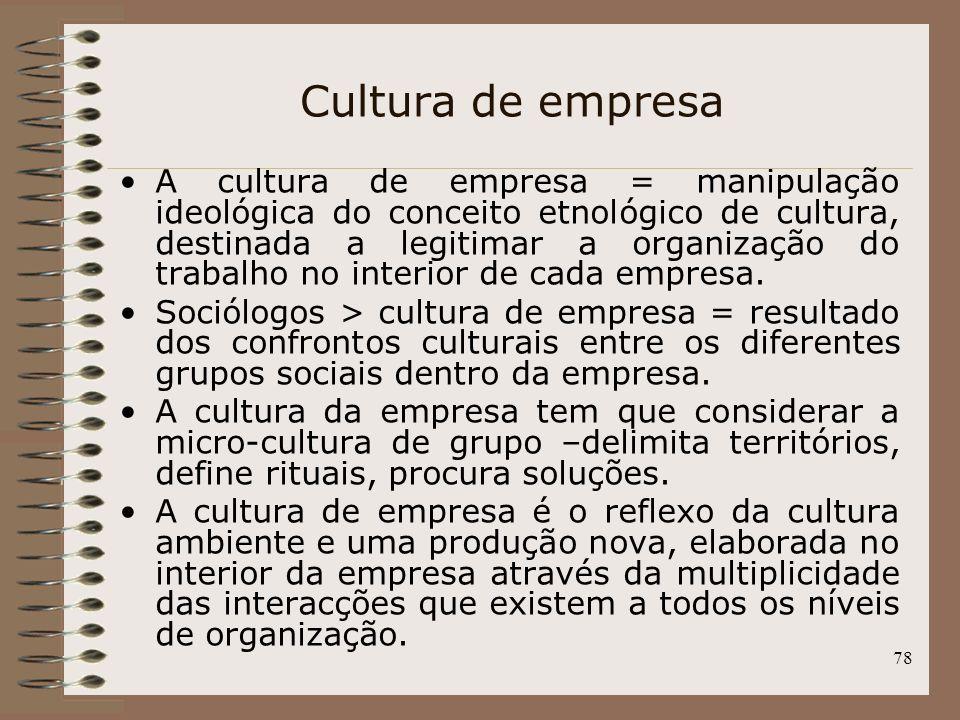 78 Cultura de empresa A cultura de empresa = manipulação ideológica do conceito etnológico de cultura, destinada a legitimar a organização do trabalho