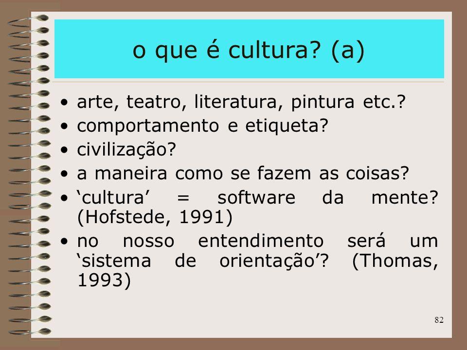 82 o que é cultura? (a) arte, teatro, literatura, pintura etc.? comportamento e etiqueta? civilização? a maneira como se fazem as coisas? cultura = so