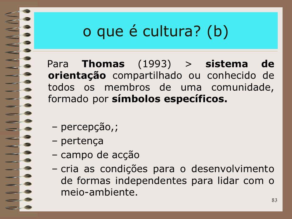 83 o que é cultura? (b) Para Thomas (1993) > sistema de orientação compartilhado ou conhecido de todos os membros de uma comunidade, formado por símbo