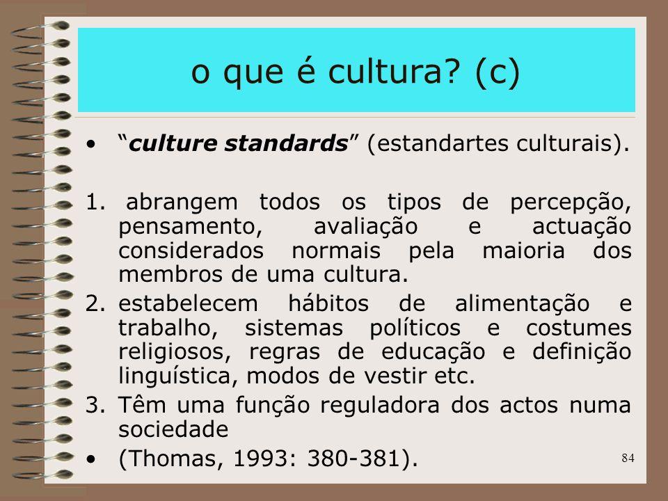 84 o que é cultura? (c) culture standards (estandartes culturais). 1. abrangem todos os tipos de percepção, pensamento, avaliação e actuação considera