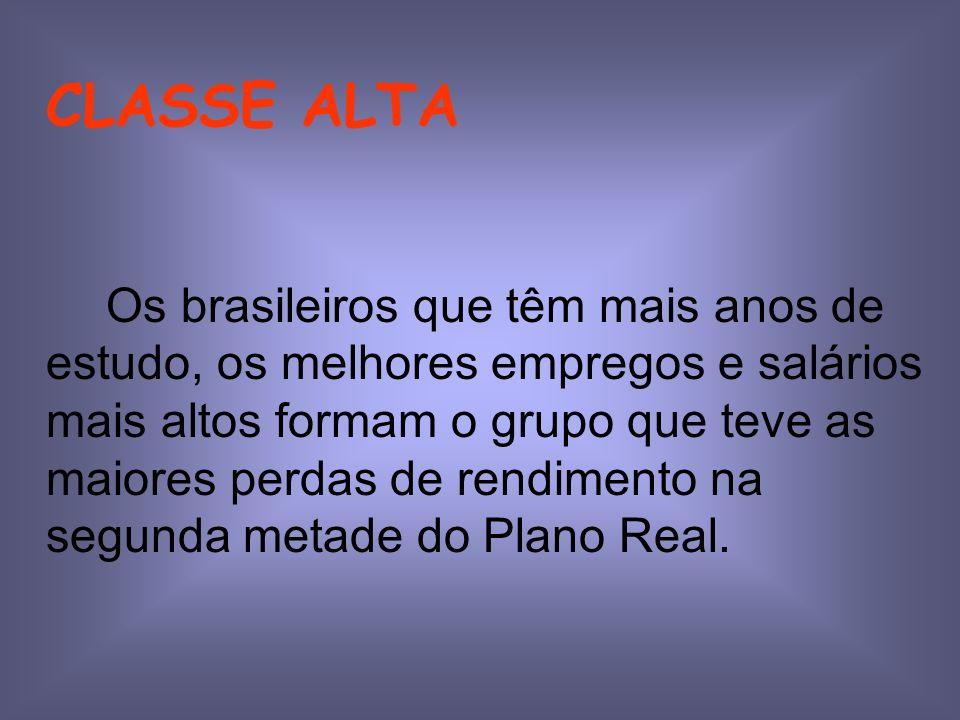 CLASSE ALTA Os brasileiros que têm mais anos de estudo, os melhores empregos e salários mais altos formam o grupo que teve as maiores perdas de rendimento na segunda metade do Plano Real.