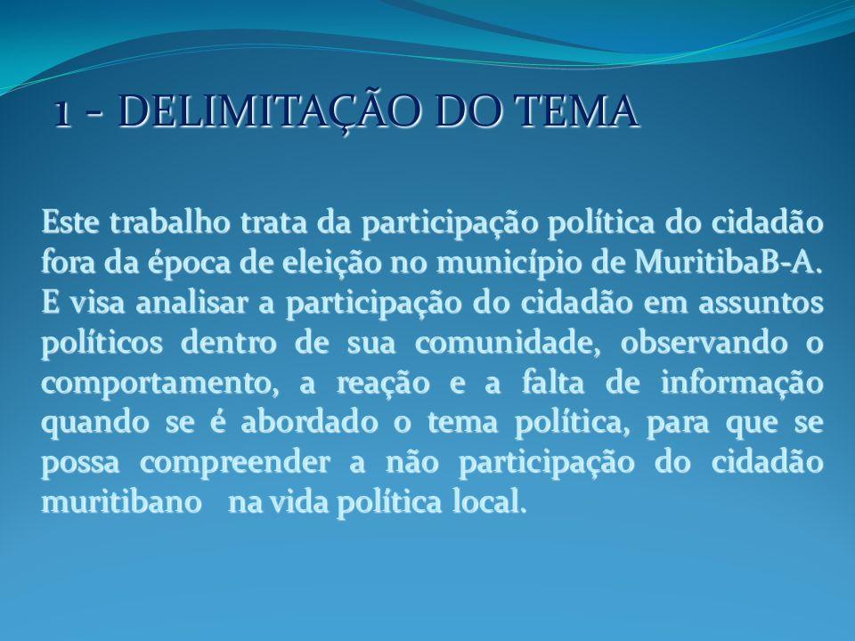 2 - OBJETIVO GERAL Sua importância maior é compreender o comportamento dos cidadãos no cenário político de um Município, Estado ou País.