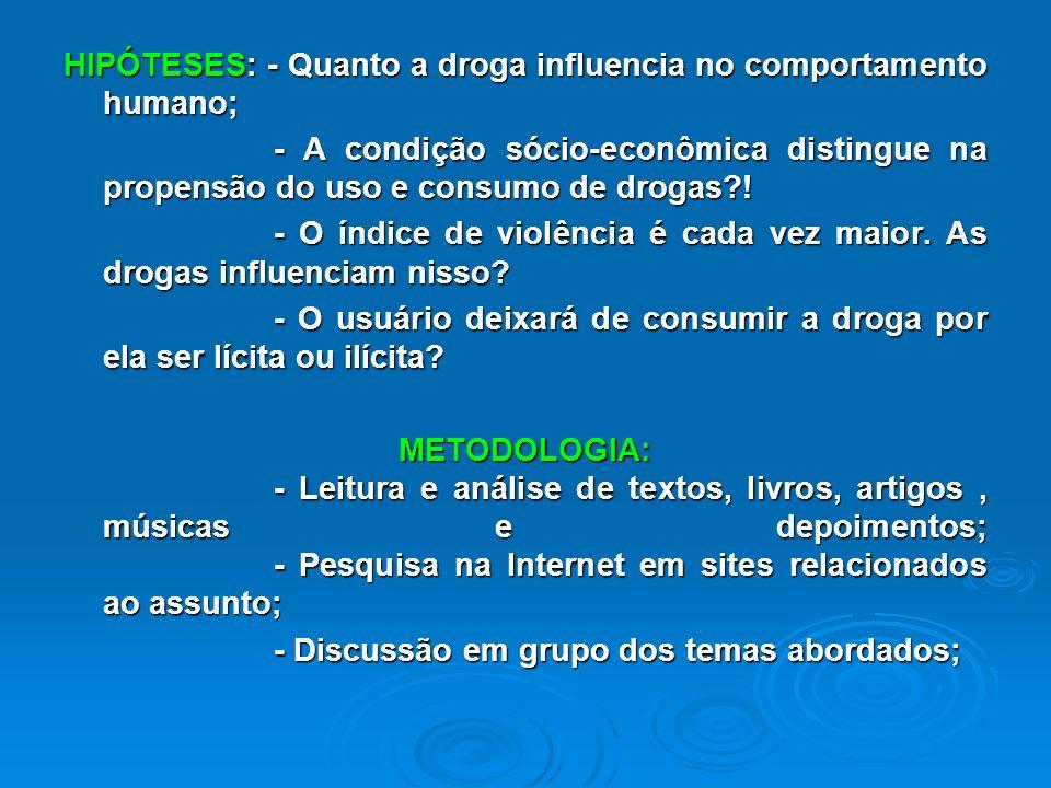 TEMA: DROGADICÇÃO, ACOOLISMO E DEPENDÊNCIA Objetivos Gerais: - Esclarecer sobre a dependência das pessoas sobres as drogas; - Analisar quais são suas