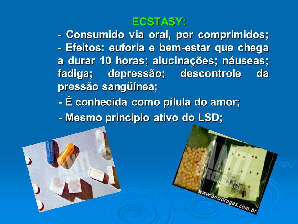 COCAÍNA: - A forma mais comum de consumo é aspirando, geralmente o pó; - São misturados diversos produtos a ela: soda caustica, solução de bateria de