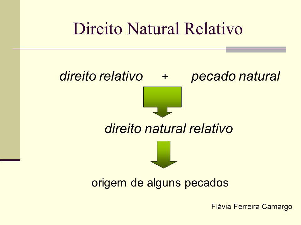 Direito Natural Relativo direito relativo + pecado natural direito natural relativo origem de alguns pecados Flávia Ferreira Camargo