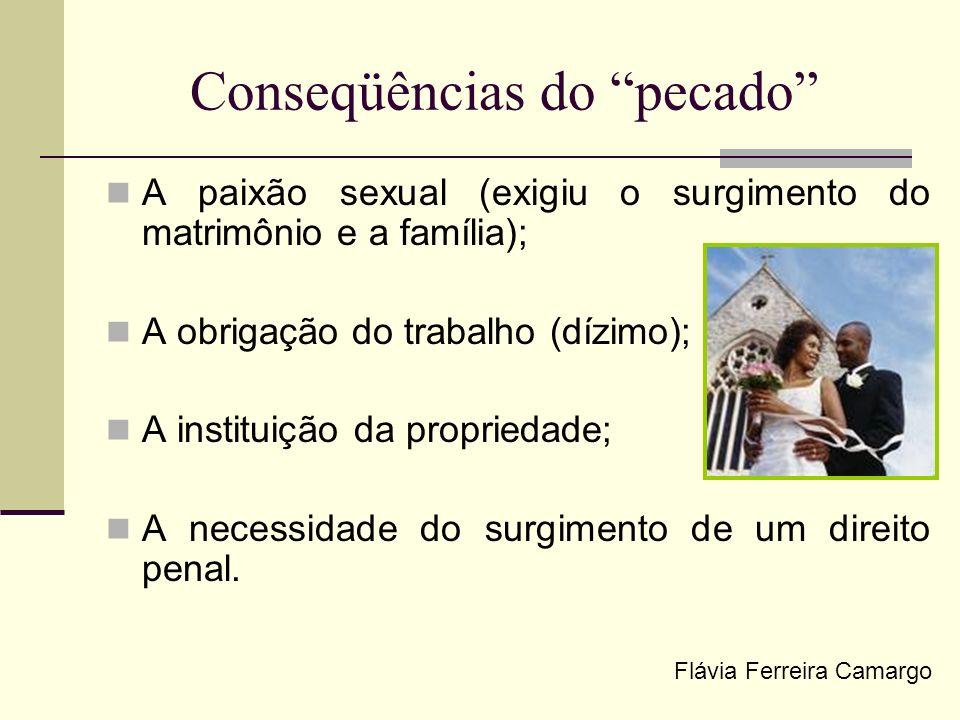 Conseqüências do pecado A paixão sexual (exigiu o surgimento do matrimônio e a família); A obrigação do trabalho (dízimo); A instituição da propriedad