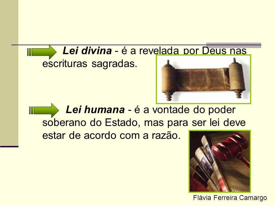 Lei divina - é a revelada por Deus nas escrituras sagradas. Lei humana - é a vontade do poder soberano do Estado, mas para ser lei deve estar de acord