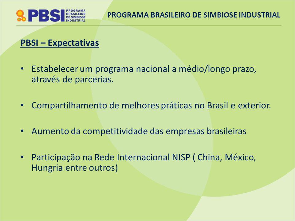 PBSI – Expectativas Estabelecer um programa nacional a médio/longo prazo, através de parcerias. Compartilhamento de melhores práticas no Brasil e exte