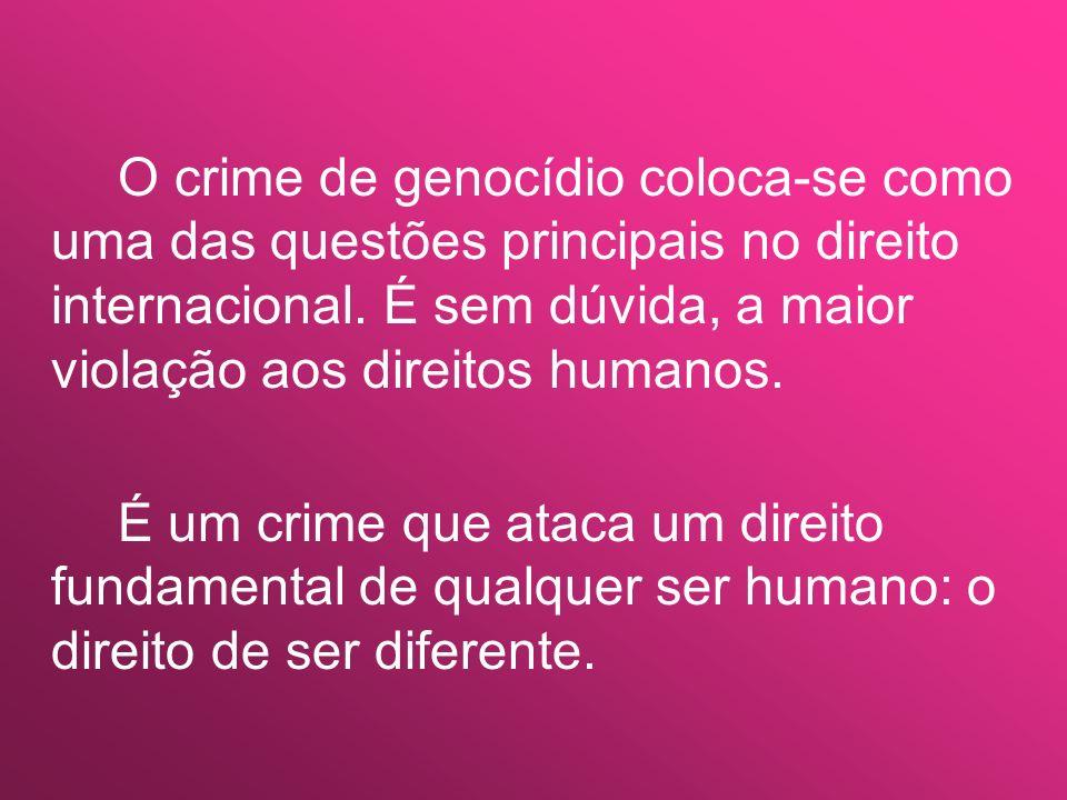 O crime de genocídio coloca-se como uma das questões principais no direito internacional. É sem dúvida, a maior violação aos direitos humanos. É um cr