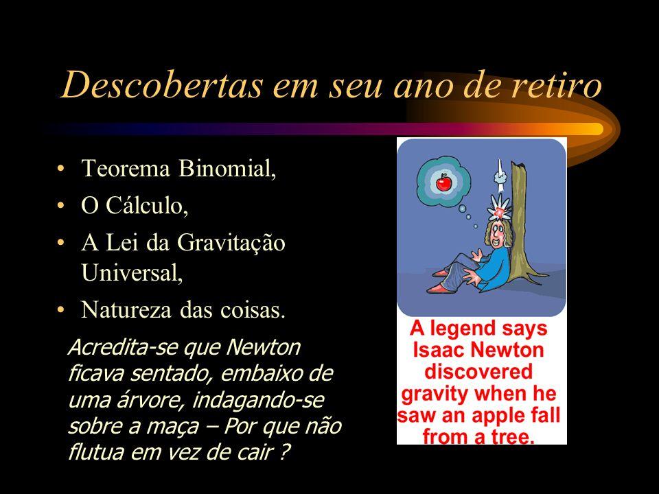 Descobertas em seu ano de retiro Teorema Binomial, O Cálculo, A Lei da Gravitação Universal, Natureza das coisas. Acredita-se que Newton ficava sentad