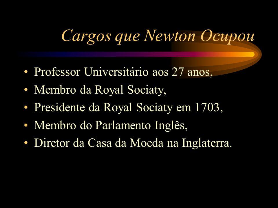 Cargos que Newton Ocupou Professor Universitário aos 27 anos, Membro da Royal Sociaty, Presidente da Royal Sociaty em 1703, Membro do Parlamento Inglê
