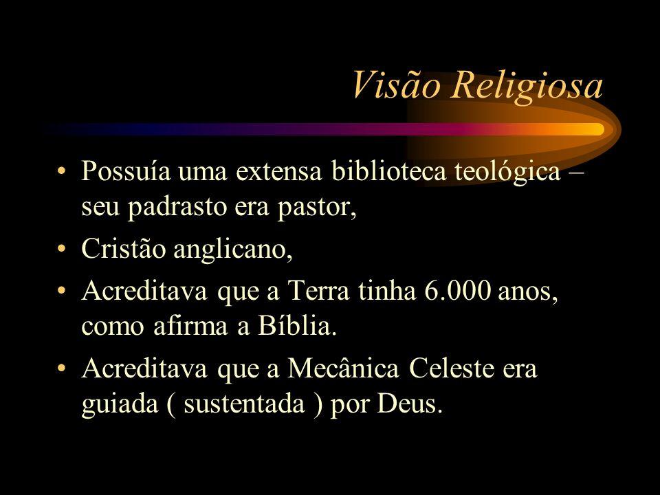 Visão Religiosa Possuía uma extensa biblioteca teológica – seu padrasto era pastor, Cristão anglicano, Acreditava que a Terra tinha 6.000 anos, como a