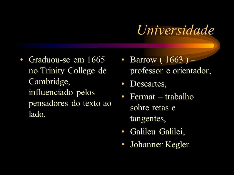 Universidade Graduou-se em 1665 no Trinity College de Cambridge, influenciado pelos pensadores do texto ao lado. Barrow ( 1663 ) – professor e orienta