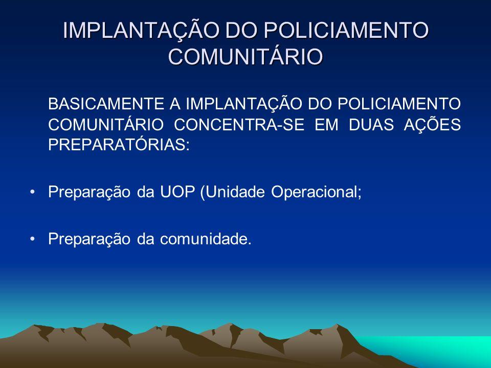 IMPLANTAÇÃO DO POLICIAMENTO COMUNITÁRIO BASICAMENTE A IMPLANTAÇÃO DO POLICIAMENTO COMUNITÁRIO CONCENTRA-SE EM DUAS AÇÕES PREPARATÓRIAS: Preparação da